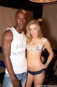 Kwesi and Tara posing. Kwesi is wearing one of the new Women's Mafia tees by Selma Karaca...