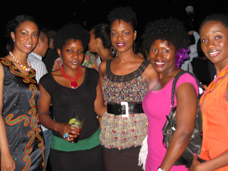 Kibonen Nfi (right) and friends, some wearing her KiRette Couture line